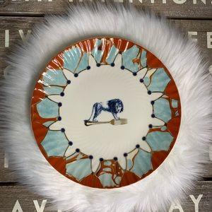 Anthropologie Lion Fork plate blue and orange